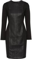 Raoul Cable Contoured Stretch Cotton-Blend And Faux Leather Mini Dress