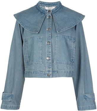 Sea Layered Shoulder Cropped Jacket