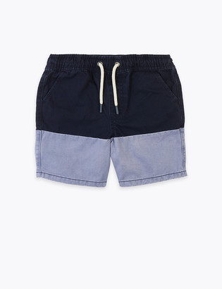 Marks and Spencer Pure Cotton Colourblock Shorts (6-16 Yrs)