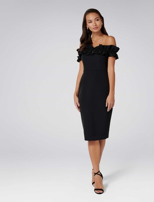 Forever New Felicity Frill Top Pencil Dress - Black - 4