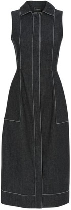 Akris Contrast-Stitch Denim Midi Dress