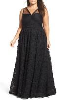 Adrianna Papell Plus Size Women's Embellished Petal Chiffon Ballgown