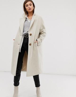 Asos Design DESIGN textured longline coat in cream-Multi