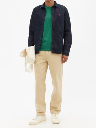 Ami De Cur-logo Organic-cotton Jersey T-shirt - Green