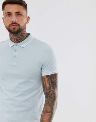 Asos Design DESIGN tipped pique polo shirt in blue