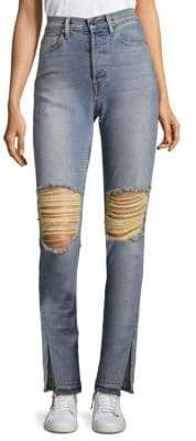 Cotton Citizen High-Rise Distressed Split Skinny Jeans