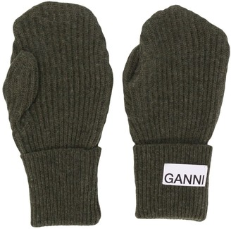 Ganni Logo-Patch Mittens