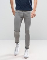 Pull&Bear Super Skinny Jeans In Light Gray