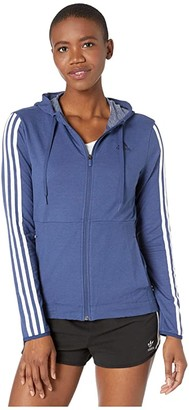 adidas 3 Stripe Training Full Zip Hoodie Sweatshirt (Black/White) Women's Clothing