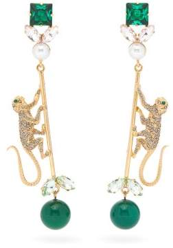 Erdem Monkey Crystal-embellished Drop Earrings - Womens - Green Multi