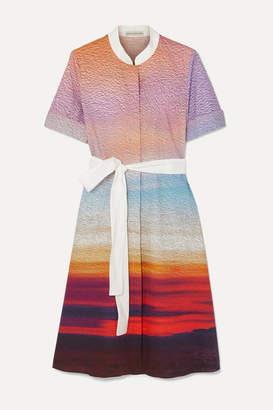 Mary Katrantzou Cecilia Belted Printed Stretch-cotton Poplin Dress - Pink