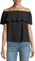 7 For All Mankind Off-the-Shoulder Ruffled Crepe Top