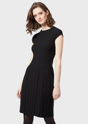 Emporio Armani Short-Sleeved Knitted Dress
