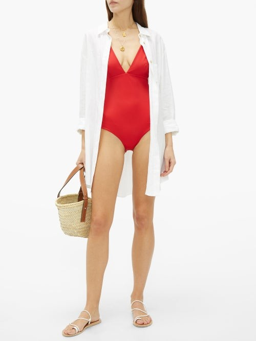 Thumbnail for your product : ODYSSEE Franklin Plunge-neck Swimsuit - Red