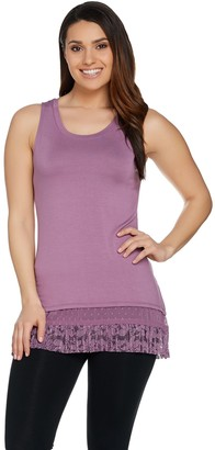 Logo by Lori Goldstein Tank w/ Lace & Swiss Dot Chiffon Hem
