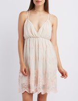 Charlotte Russe Embroidered Mesh Babydoll Dress