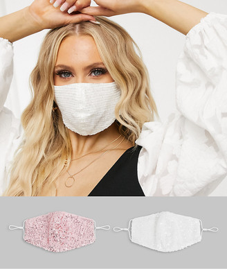 TFNC 2-pack sequin face covering in white and pink