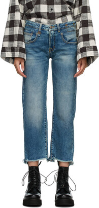 R13 Blue Straight Ripped Boy Jeans