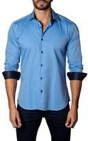 Jared Lang Blue Dot Woven Trim Fit Shirt
