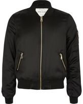 River Island Girls black satin bomber jacket