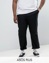 Asos Plus Straight Chinos In Black