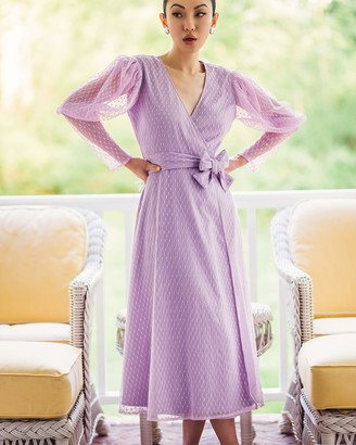 The Drop Women's Lavendula Ruched Long-Sleeve V-Neck Wrap Dress by @jessicawang M