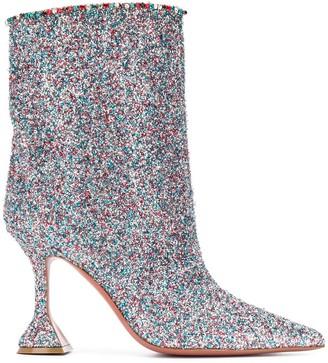 Amina Muaddi Mia glitter ankle boots