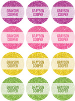 Spark & Spark Glitter Waterproof Personalized Labels - Set of 48