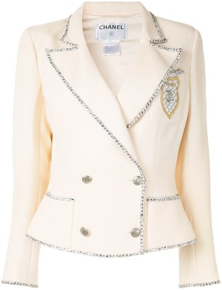Chanel Pre Owned Contrast Trimming Slim-Fit Double Breasted Blazer