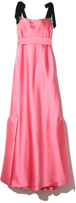 Lela Rose Jewel Button Flounce Hem Gown in Peony