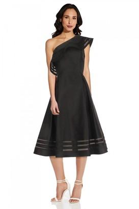 Adrianna Papell Mikado Organza Dress In Black