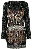 Balmain Embellished Tiger Mini Dress