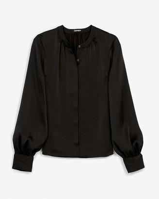 Express Satin Collarless Balloon Sleeve Button Up Shirt