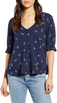 Lucky Brand Print Peasant Top