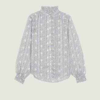 BA&SH Ecru Polyester Precious Printed Blouse - polyester | ecru | 1 - Ecru