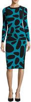 London Times Long-Sleeve Pebble-Print Midi Sheath Dress