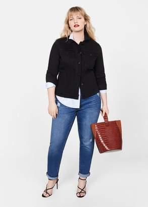 MANGO Violeta BY Pocketed denim jacket dark blue - S - Plus sizes