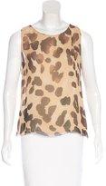 Les Copains Silk Leopard Print Top