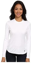 Hot Chillys Peach Solid Crewneck (White) Women's Long Sleeve Pullover