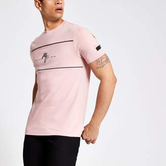 River Island Mens Pink Maison Riviera slim fit T-shirt