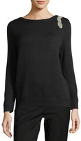 BA&SH Opera V-Back Sweater w/ Rhinestone Embellishment
