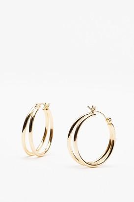 Nasty Gal Womens You're in Double Hoop Earrings - Gold