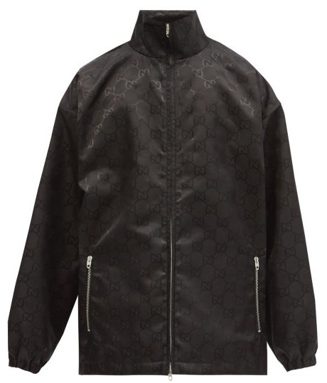 Gucci Oversized Recycled Gg-jacquard Shell Jacket - Black
