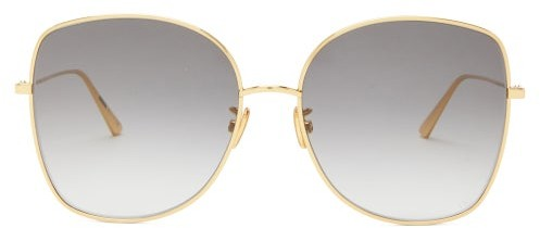 Thumbnail for your product : Christian Dior Diorstellaire Square Metal Sunglasses - Grey Gold