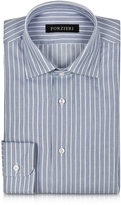Forzieri White and Blue Striped Non Iron Cotton Slim Fit Men's Shirt