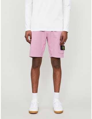 Stone Island Logo-patch cotton-jersey tracksuit shorts