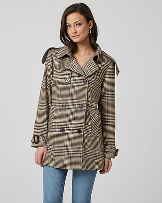 Le Château Glen Check Double Breasted Trench Coat