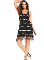 Raviya Plus Size Tie-Dyed Striped Dress Cover-Up