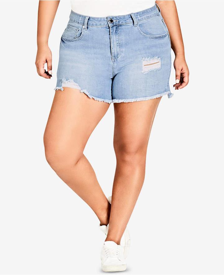 Trendy Plus Size Ripped Denim Shorts