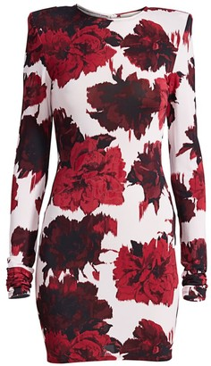 Alexandre Vauthier Floral-Print Padded Shoulder Bodycon Dress